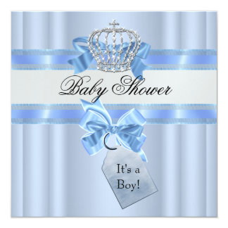 """Baby Shower Boy Blue White Prince Crown 5.25"""" Square Invitation Card"""