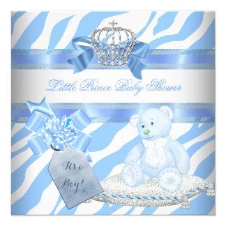 Baby Shower Boy Blue Zebra Prince Crown Teddy Bear Card