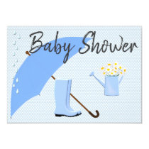 Baby Shower Boy Blues Umbrella and Rain Boots Card