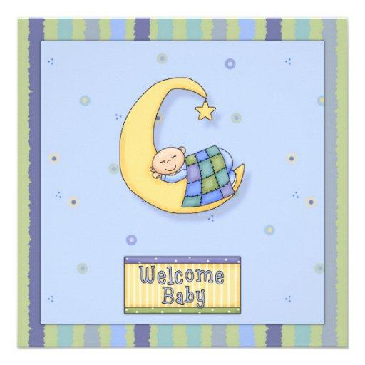 baby shower boy decorative design square paper invitation