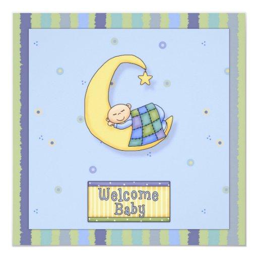 """Baby Shower Boy Decorative Design 5.25"""" Square Invitation Card"""