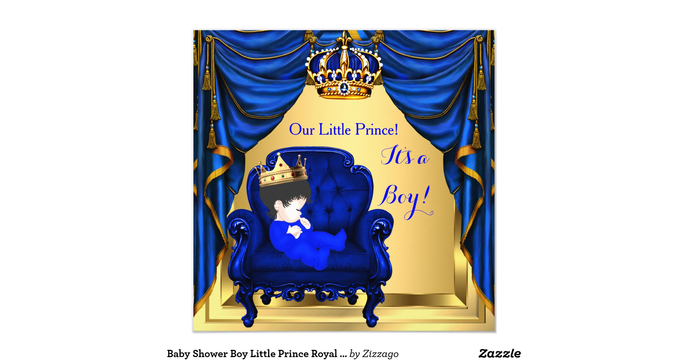 baby shower boy little prince royal blue gold 2 invitation zazzle