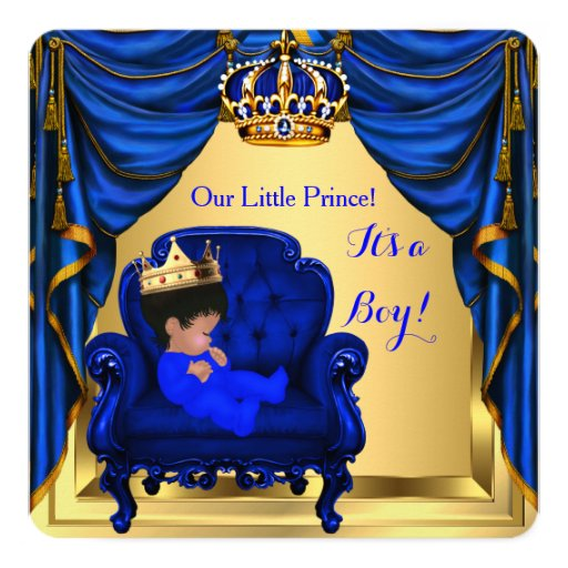 baby shower boy little prince royal blue gold invitation