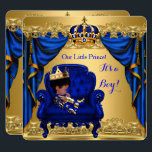 """Baby Shower Boy Little Prince Royal Blue Golden Card<br><div class=""""desc"""">African American Royal Prince Crown Blue Gold Golden Baby Shower Boy in Chair Throne. Cute Pretty Cute Couples Ethnic Baby Shower,  Baby boy and Drapes invitation,  new baby boy.</div>"""