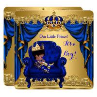 Baby Shower Boy Little Prince Royal Blue Golden