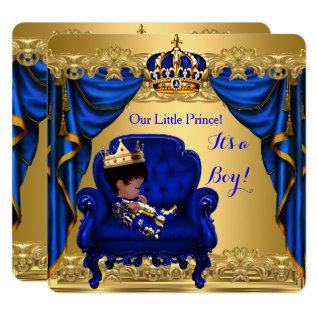 Baby Shower Boy Little Prince Royal Blue Golden Card at Zazzle