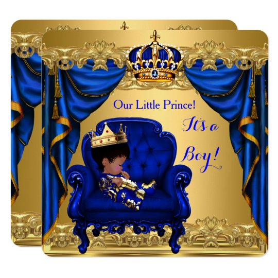 Perfect Baby Shower Boy Little Prince Royal Blue Golden Card
