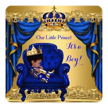 Zizzago Baby Shower Boy Little Prince Royal Blue Golden Card