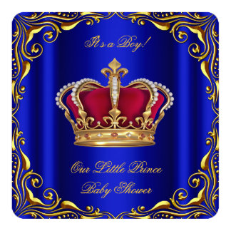 Baby Shower Boy Little Prince Royal Blue Red Gold 5.25x5.25 Square Paper Invitation Card