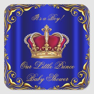 Baby Shower Boy Little Prince Royal Blue Red Gold