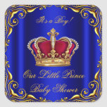 Baby Shower Boy Little Prince Royal Blue Red Gold Square Sticker