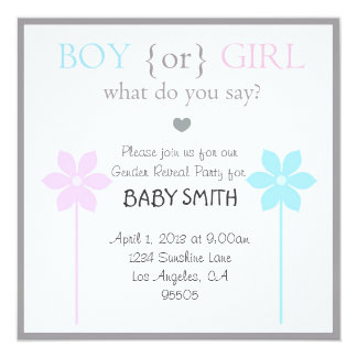 "Baby Shower Boy or Girl Invitation 5.25"" Square Invitation Card"