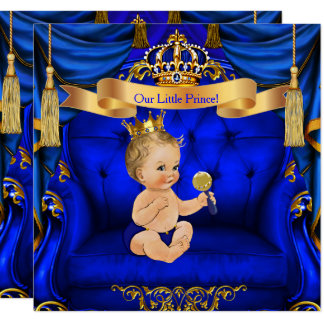 Baby Shower Boy Prince Royal Blue Gold Blonde boy Card