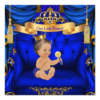 Baby Shower Boy Prince Royal Blue Gold Brunette Card