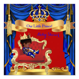 Baby Shower Boy Prince Royal Blue Red Ethnic Card
