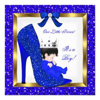 Baby Shower Boy Prince Royal Blue Shoe Card