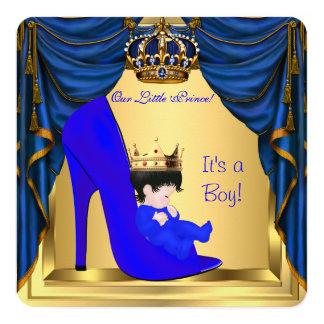 Baby Shower Boy Prince Royal Blue Shoe Gold Card