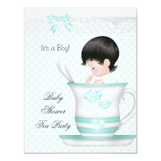 Baby Shower Boy Teal Baby Teacup 4.25x5.5 Paper Invitation Card