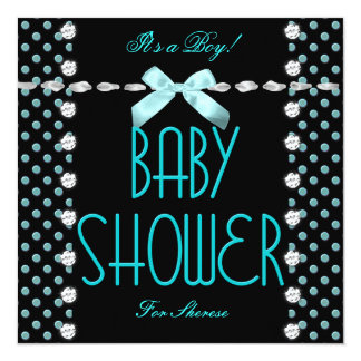 Baby Shower Boy Teal Blue Black White Polka Dot Card