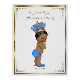 Baby Shower Boy,white blue,elegant,32x41 300pp. Poster