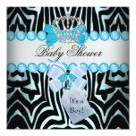 Baby Shower Boy Zebra Blue Prince Crown Black Personalized Invites