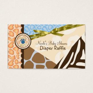 Baby Shower Boys Blue Safari Print Diaper Raffle Business Card