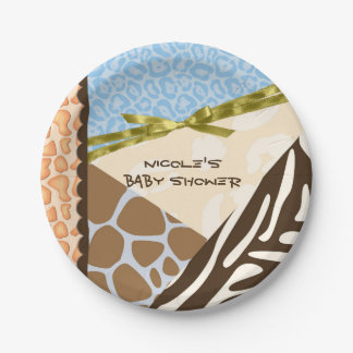Baby Shower Boys Blue Safari Print Themed Paper Plate