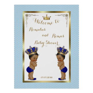 Baby Shower Boys TWINS,blue,elegant,40x52 150pp Poster