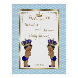 Baby Shower Boys TWINS,blue,elegant,40x52 300pp Poster