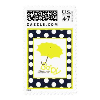 Baby Shower  - Bright Yellow Umbrella & Polka Dots Postage