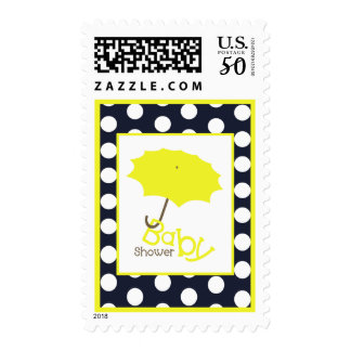 Baby Shower  - Bright Yellow Umbrella & Polka Dots Postage