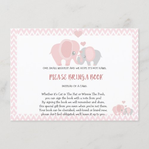 Baby Shower Bring a Book Baby Girl Enclosure Card