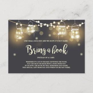 Baby Shower Bring a book card Rustic mason Jars