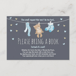 Baby Shower Bring a Book Card Teddy Bear