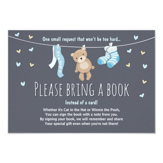 Superior Baby Shower Bring A Book Card Teddy Bear
