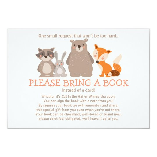 baby shower bring a book card woodland zazzle