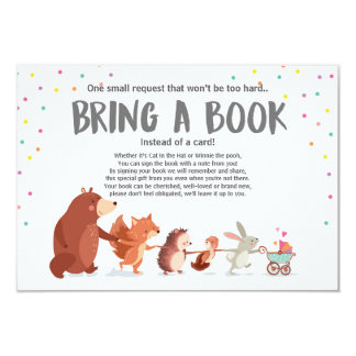 Baby Shower Bring a book card Woodland animals