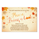 Baby Shower Bring a book Fall Autumn Leaves Card
