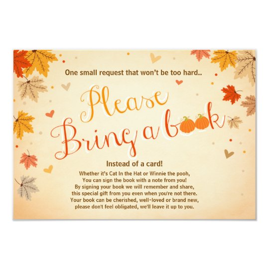 Baby Shower Bring a book Fall Autumn Leaves Card | Zazzle
