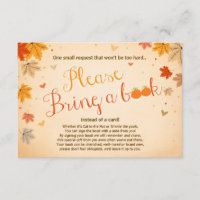 Baby Shower Bring a book Fall Autumn Leaves Enclosure Card