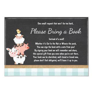 Baby Shower Bring a book Farm Country Blue Boy Card