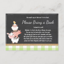 Baby Shower Bring a book Farm Country Green unisex Enclosure Card