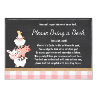 Baby Shower Bring a book Farm Country Pink Girl Card