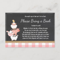 Baby Shower Bring a book Farm Country Pink Girl Enclosure Card
