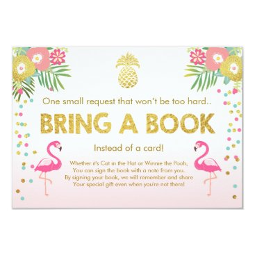 Toddler & Baby themed Baby Shower Bring a Book Flamingo Tropical Pink Card