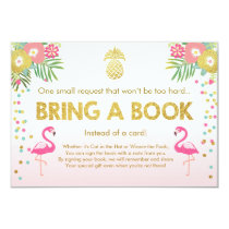 Baby Shower Bring a Book Flamingo Tropical Pink Invitation