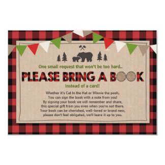 Baby Shower Bring a book Lumberjack Plaid Bear Card