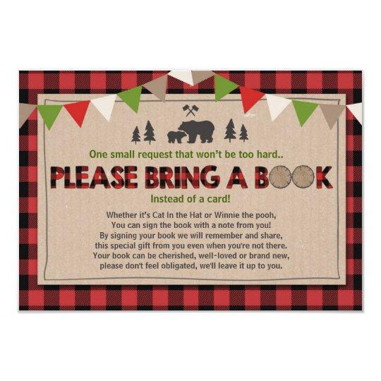 Baby Shower Bring A Book Lumberjack Plaid Bear Card