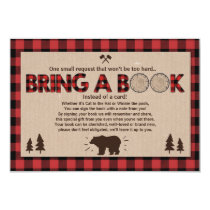 Baby Shower Bring a book Lumberjack Plaid Bear Invitation
