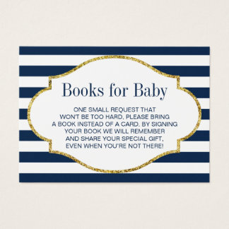 Baby Shower Bring a Book Navy Blue Stripes Insert